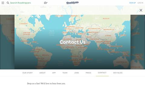 Screenshot of Contact Page roadtrippers.com - Contact Us | Road Trip Route Planner, Map and Trip Guides - captured Oct. 18, 2018
