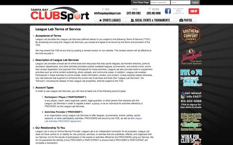Screenshot of Terms Page tampabayclubsport.com - League Lab Terms of Service - St Petersburg, FL - captured Oct. 26, 2014