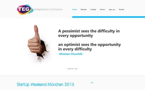 Screenshot of Home Page teg-ev.de - TEG   the entrepreneurial group e.V. - TEG e.V. - captured Feb. 14, 2016