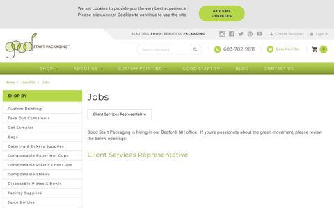 Screenshot of Jobs Page goodstartpackaging.com - Jobs at Good Start Packaging - captured Nov. 5, 2018