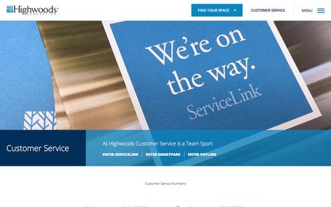 Screenshot of Support Page highwoods.com - Customer Service | Highwoods - captured Aug. 14, 2017