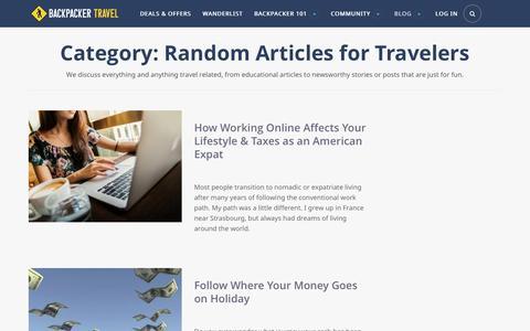 Random Articles for Travelers | Backpacker Travel