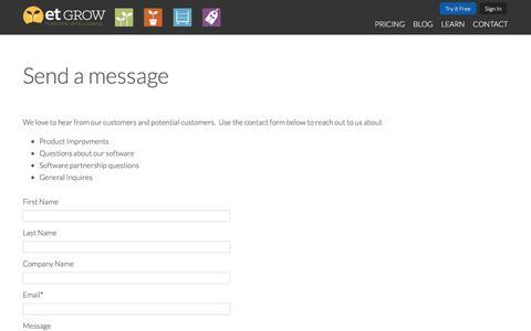 Screenshot of Contact Page etgrow.com - Send a message - captured May 13, 2017