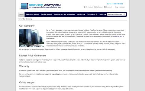 Screenshot of About Page serverfactory.co.uk - Our Company - captured Oct. 7, 2014