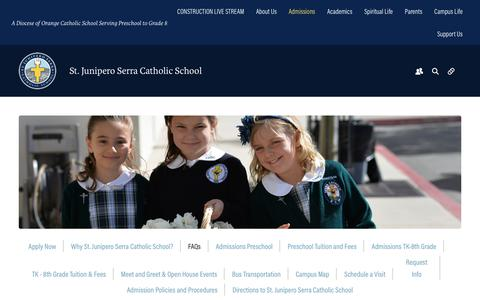 Screenshot of FAQ Page serraschool.org - FAQs - Serra Catholic School - captured Oct. 27, 2017