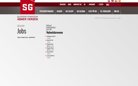 Screenshot of Jobs Page gymnasiet.dk - Aktuelle Jobs - captured Nov. 3, 2014