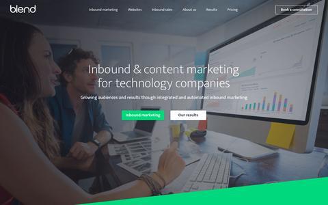 Screenshot of Home Page blendb2b.com - B2B Inbound Marketing Agency | HubSpot Diamond Partner - captured Jan. 24, 2018