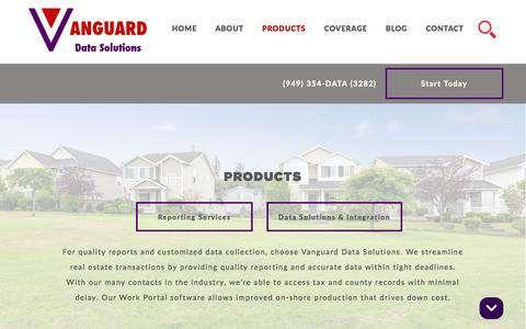 Screenshot of Products Page vanguardds.com - Products - Vanguard Data Solutions - captured Dec. 3, 2016