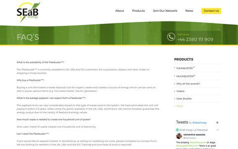 Screenshot of FAQ Page seabenergy.com - FAQ's – SEAB Energy - captured Sept. 29, 2017