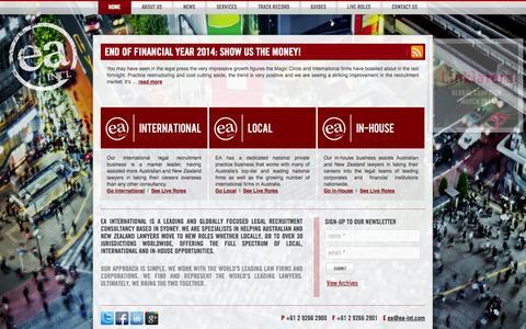 Screenshot of Home Page ea-int.com - Legal Recruitment   Recruitment Agency   Legal Jobs   EA International - captured Oct. 1, 2014