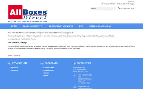 Screenshot of About Page allboxesny.com - About Us - captured Oct. 4, 2014