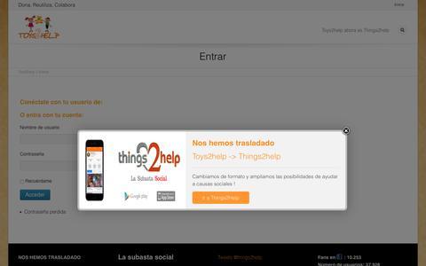 Screenshot of Login Page toys2help.com - Entrada usuarios | Juguetes solidarios segunda mano Toys2help - captured Feb. 25, 2016