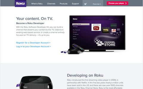 Screenshot of Developers Page roku.com - Developers | Roku Streaming Player - captured Sept. 17, 2014