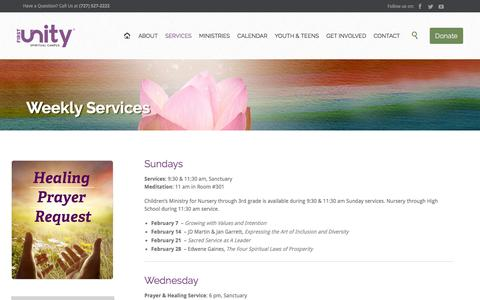 Screenshot of Services Page firstunity.org - Weekly Services - First Unity Spiritual Campus   St. Petersburg, FL - captured Feb. 10, 2016