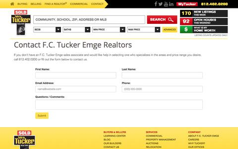 Screenshot of Contact Page fctuckeremge.com - Contact F.C. Tucker Emge Realtors - captured Oct. 5, 2017