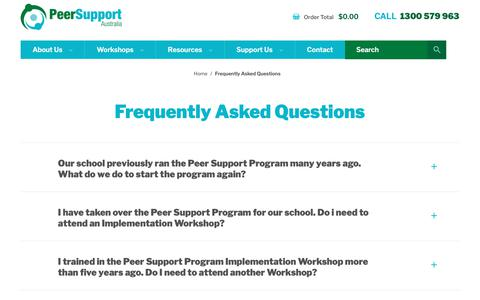 Screenshot of FAQ Page peersupport.edu.au - Frequently Asked Questions - Peer Support - captured Sept. 27, 2018