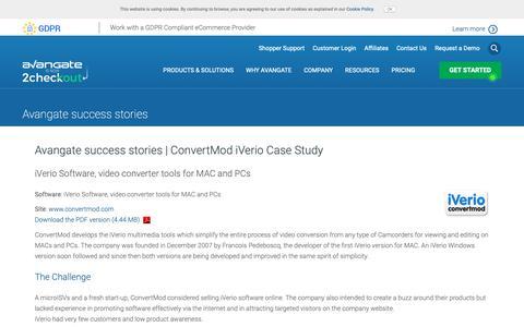 Screenshot of Case Studies Page avangate.com - Avangate success stories | ConvertMod iVerio Case Study - captured Sept. 26, 2018