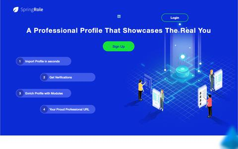 Screenshot of Home Page springrole.com - SpringRole- Your Verified Professional Profile on the blockchain - captured March 14, 2019
