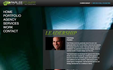 Screenshot of Team Page parleestumpf.com - Our Leadership: Full Service Advertising Agency & Marketing Firm: Doylestown PA - captured Oct. 1, 2014