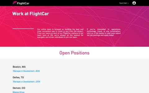Screenshot of Jobs Page flightcar.com - FlightCar Open Positions - captured May 25, 2016