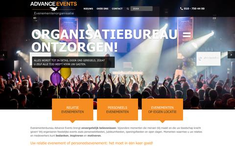 Screenshot of Home Page advance-events.nl - Evenementenbureau Advance Events | Feestelijke Events - captured Dec. 23, 2015