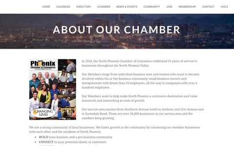Screenshot of About Page northphoenixchamber.com - About Us - captured Oct. 18, 2018