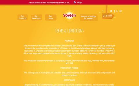 Screenshot of Terms Page soreen.com - Terms & conditions - Soreen - captured Nov. 7, 2017