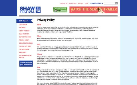 Screenshot of Privacy Page shawfest.com - Privacy Policy | Shaw Festival Theatre – Great theatre in the heart of Niagara Wine Country - captured Sept. 24, 2014