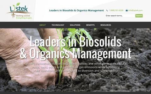 Screenshot of Home Page lystek.com - Lystek: Leaders in Biosolids and Organics Management - captured June 18, 2015