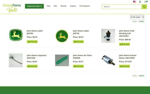 Screenshot of Products Page greenfarmparts.com - John Deere Parts Online from Green Farm Parts: Free Shipping - captured May 24, 2017