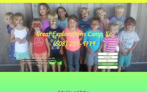 Screenshot of Services Page greatexplorationscamp.com - great explorations camp nantucket summer camps  | Schedule and Rates - captured July 8, 2018
