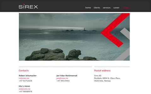 Screenshot of Contact Page sirex.no - contact | Sirex AS - captured Oct. 3, 2014