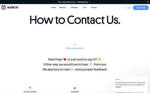 Screenshot of Contact Page swat.io - Contact - Swat.io - captured May 17, 2019