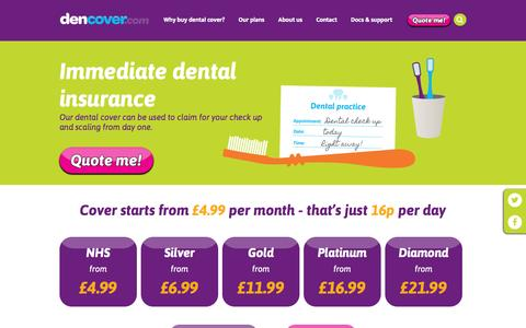 Screenshot of Home Page dencover.com - Dencover Provide Dental Insurance for Individuals, Couples & Families | Dencover - captured Sept. 12, 2015