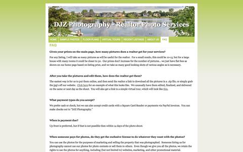 Screenshot of FAQ Page djzphoto.com - FAQ | DJZ Photography | Grand Rapids, Michigan - captured Oct. 5, 2014
