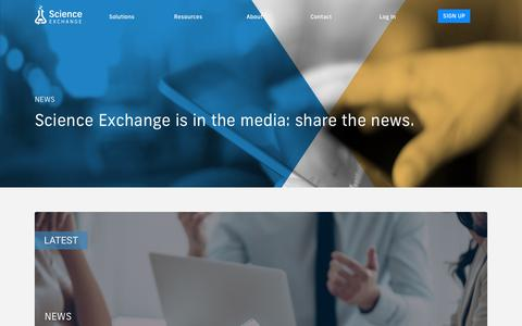 Screenshot of Press Page scienceexchange.com - News | Science Exchange Resources - captured Feb. 7, 2019