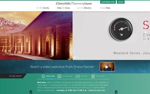 Screenshot of Home Page chcc.org - Home - Cherry Hills Community Church - captured Jan. 23, 2015