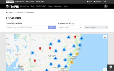 Screenshot of Locations Page tafensw.edu.au - Places to study - TAFE NSW - captured Oct. 31, 2019