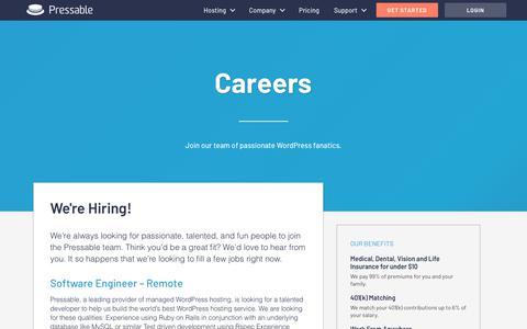 Screenshot of Jobs Page pressable.com - Careers Archive - Pressable - captured Nov. 4, 2018