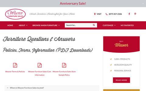 Screenshot of FAQ Page weaverfurnituresales.com - Furniture Questions   Frequent Amish Furniture Questions   Furniture FAQs - captured Sept. 21, 2018