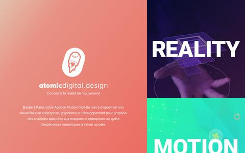 Screenshot of Home Page atomicdigital.design - Atomic Digital Design - Agence de Conception Digitale à Paris - captured Nov. 3, 2018