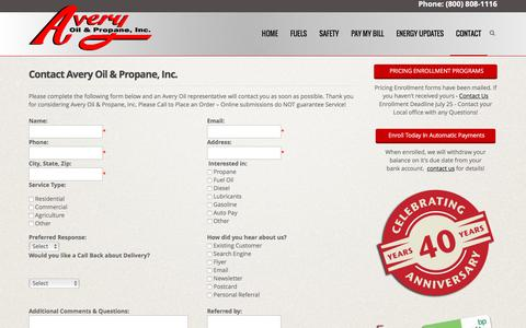 Screenshot of Contact Page averyoilandpropane.com - Contact Avery Oil & Propane, Residential & Commercial Propane, Fuel Oils and Gasolene | Avery Oil & Propane - captured Nov. 21, 2016