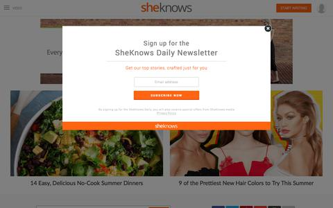 Screenshot of Home Page sheknows.com - SheKnows | Entertainment, Recipes, Parenting & Love Advice - captured June 12, 2017