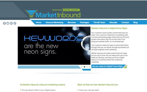 Screenshot of Home Page marketinbound.com - Market Inbound - captured Oct. 3, 2014