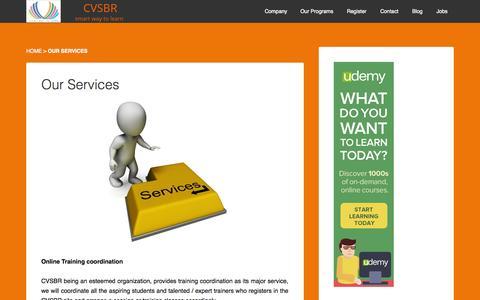 Screenshot of Services Page cvsbr.com - Our Services - cvsbr - captured Sept. 26, 2014
