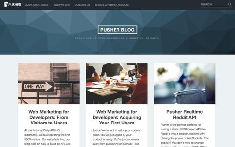 Screenshot of Blog pusher.com - Pusher Blog | Enjoy our helpful resources & Industry insights. - captured Sept. 17, 2014