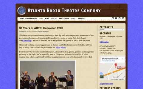 Screenshot of Press Page artc.org - News | Atlanta Radio Theatre Company - captured Oct. 4, 2014