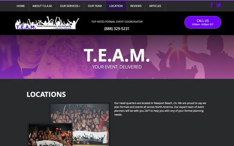 Screenshot of Locations Page teamexp.com - Event Planning Company | Sorority Events | Fraternity Events Ideas  - T.E.A.M. - captured Feb. 13, 2016