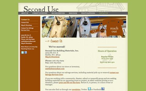 Screenshot of Contact Page seconduse.com - Contact Info | Second Use, Seattle: Building Materials, Salvage, & Deconstruction - captured Nov. 3, 2014