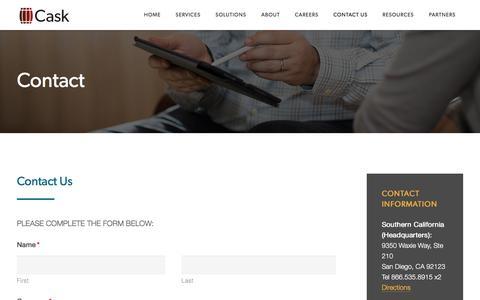 Screenshot of Contact Page caskllc.com - Contact - Cask - captured April 19, 2018